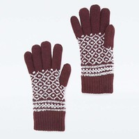 Burgundy Fair Isle Super Soft Gloves - Urban Outfitters