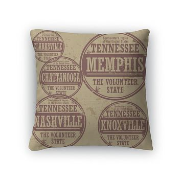 Throw Pillow, Grunge Rubber Stamp Set With Names Of Tennessee Cities