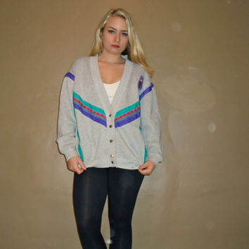 90s Gray Windbreaker Cardigan Button Down Crewneck Sweater Sweatshirt