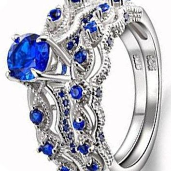 1.3 CT Round Created Blue Sapphire 925 Sterling Silver Engagement Ring Set