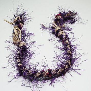 Purple Fuzzy Bamboo Kumihimo Fibre Bracelet by epicstitching
