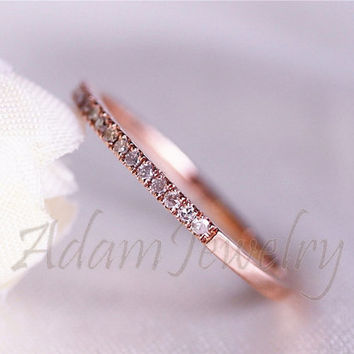Ship in One Day! 14K Rose Gold Half Eternity Band Pave Diamonds Thin Design Wedding Ring/ Engagement Ring/ Wedding Band/ Anniversary Ring