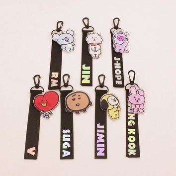 KPOP BTS Bangtan Boys Army BT21 Cute Laser Lanyard Creative Accessories Phone Rope Strap Hot    Boys  BackPack Ribbon Keychain Keyring AT_89_10