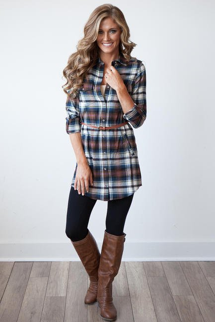 Nashville belted flannel plaid shirt from magnolia for Brown and black plaid shirt