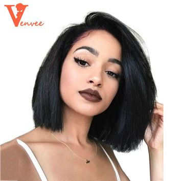 Straight Bob Wig 250 Density Short Human Hair Bob Wigs Lace Front Human Hair Wigs For Black Women Brazilian Virgin Hair Venvee