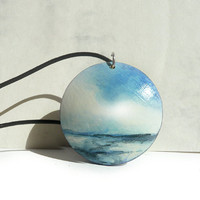 Big Ocean Pendant, Wooden Pendant, Hand Painted Necklace, Small Sea Painting, Ocean Painting, Miniature Painting Jewelry, Artdora Shop