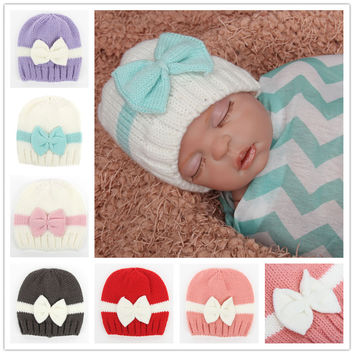 Newborn Crochet Bow hat Baby Girls knit beanie Newborn to 6M Crochet baby soft hat Toddler Bonnet baby Photo props 1pc H829