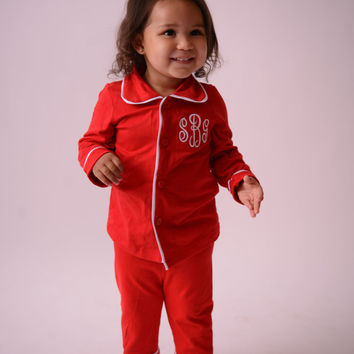 Christmas Pajamas for Kids Monogrammed in Sizes 3 Months to 14 Years