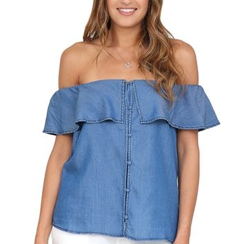 Chambray Off The Shoulder Top at Blush Boutique Miami - ShopBlush.com : Blush Boutique Miami – ShopBlush.com