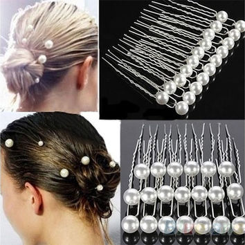 20X Charm Wedding Bridal Party Hair Pins Clip Barrette White Faux Pearl  Hairpins  7981085383  a22dadbc4