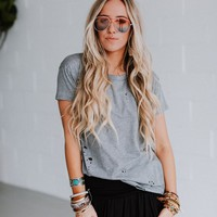 In the Raw Distressed Tee - Gray
