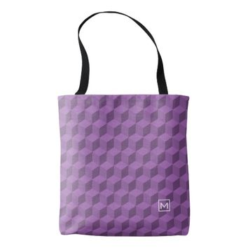 Monogram Purple Cubes Tote Bag