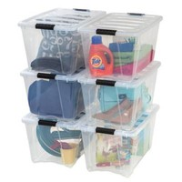 IRIS® Stack & Pull™ Plastic Latch Boxes (Set of 6)