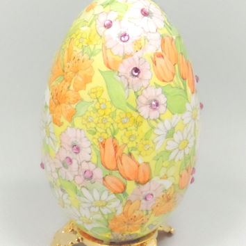 Yellow Spring Flowering Ornament Easter Egg Mothers Day Gift Idea Egg Ornament Home Decor Faberge Style Decorated Goose Egg Art