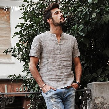 Summer Shirts Men Pure Linen Shorts Sleeve Striped Slim Fit Henley Collar Tops Clothing