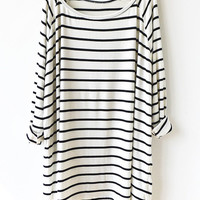 New Autumn Fashion Women's Casual White Black Striped Drop Shoulder Loose Oversized T-Shirt