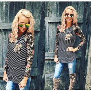 Black Striped Floral Pockets Round Neck Long Sleeve Casual T-Shirt