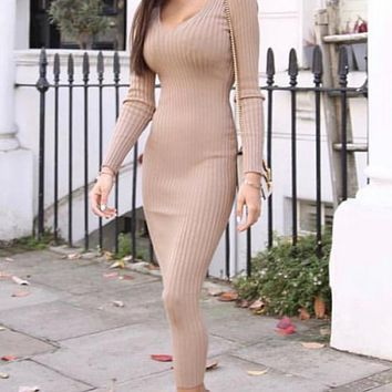Show Some Love Love Sleeve Ribbed V Neck Bodycon Bandage Midi Dress - 2 Colors Available
