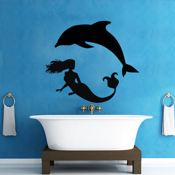 Wall Decals Mermaid Dolphin Decal Vinyl Sticker Bathroom Window Nursery Children Bedroom Hall Home Decor Dorm Interior Art Murals MN524