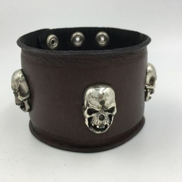 Royalty Collection Sterling Silver Skull Brown Leather Bracelet Strap