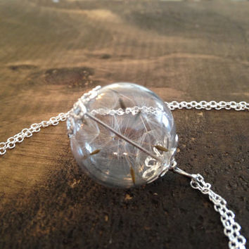 Wishes Dandelion seed necklace - silver