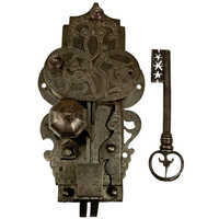 Large, 16th Century Etched Lock and Key