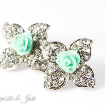 Crystal Flower and Mint Rose Stud Earrings