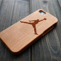 Cherry Wood Jordan iPhone 5 5s Case Holder , Wood Phone Case for iPhone 5 5s , Wooden iPhone 5 5s Cover , Christmas Gift for Dad , Only One