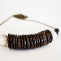 Jasper & Coconut Shell Disks Necklace