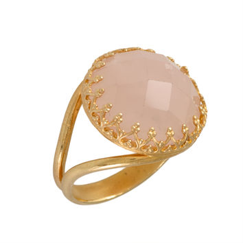 Gold Ring  Pink Rose 14k