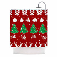 "Famenxt ""Christmas Vibes Red"" Red Green Illustration Shower Curtain"