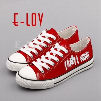 E-LOV Fashion Design Women Girls Casual Canvas Shoes Punk Street Style Graffiti Women Shoes Girls chaussures