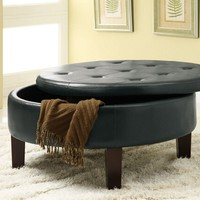 "Rich dark brown leather like vinyl button tufted top storage ottoman footstool. Ottoman Measures 36"" x 36"" x 18"" H."