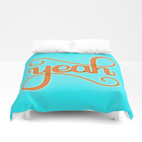 YEAH (BRIGHT HAND LETTERED TYPOGRAPHY ART) Bright Baby Sky Blue and Orange Duvet Cover by AEJ Design