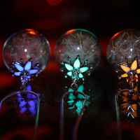 "Dandelion Seeds in Glass Bubble Pendant ""GLOW in the DARK"