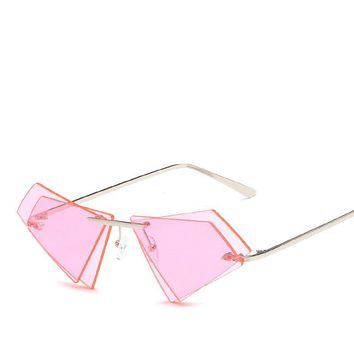 New Hipster Fashion Women Rimless Cateye Sunglases Vintage Yellow Sunwear Clear Color Lens Female Sun Glasses Gozluk Men Oculos