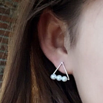 Women Pearl Triangle Ear Stud Earring Gift-05