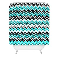 Madart Inc. Turquoise Black White Chevron Shower Curtain