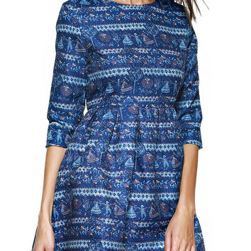 3/4 Sleeve Printed Ruched  Dress