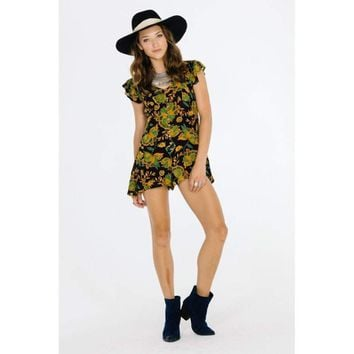 TROPICAL PARADISE CAP SLEEVE ROMPER