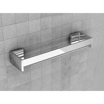 Lux Brixia Wall Chrome Towel Rack Bath Storage Shelf With Towel Bar, Brass