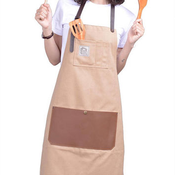 Apron For Men And Women With Leather Pocket - Chef Kitchen Art Canvas Apron - Great Gift Idea For Holidays - Comes In Attractive Packaging