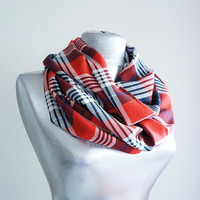 Handmade Red Tartan Infinity Scarf - Red White Navy Blue - Spring Autumn Scarf