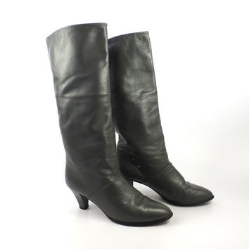 Gray Leather Boots Vintage 1980s Joyce Slouch Heeled Boots Women's size 5 1/2