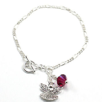 Delicate Figaro Chain Bracelet with Cute Little Angel Charm and Amethyst Swarovski Crystal