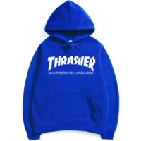 """Thrasher""Fashion print blouse casual hooded sweater Blue(4 color)"