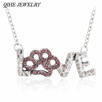 QIHE JEWELRY LOVE Pendant necklace Pink rhinestone paw Pet lover jewelry Gift for dog lover,cat lover Men women jewelry