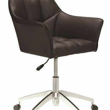 Chrome metal finish and brown leatherette upholstered tufted back office chair