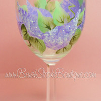 Hand Painted Wine Glass - Lilacs - Original Designs by Cathy Kraemer