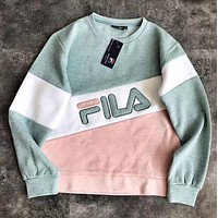 FILA New Popular Women Casual Joining Together Letter Embroidery Long Sleeve Round Collar Sweater Top Sweatshirt Green